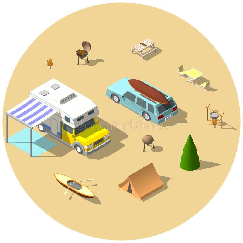 Illustration isométrique de vecteur de camping illustration stock