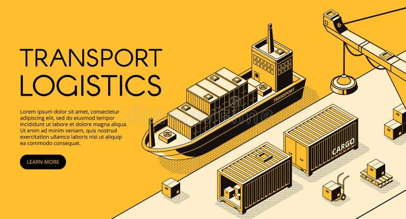 Illustration isométrique de vecteur de logistique de cargaison de bateau illustration stock
