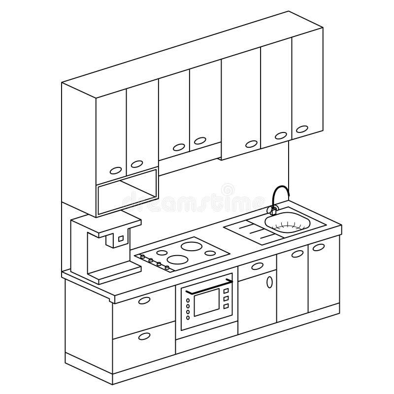 Illustration isométrique de vecteur de scénographie de cuisine de plan illustration libre de droits