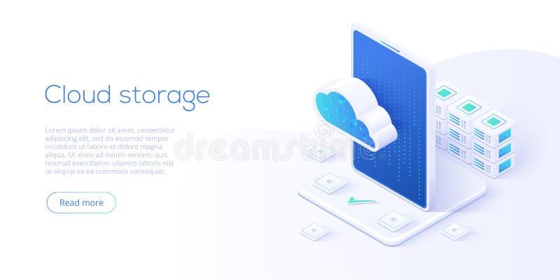 Illustration isométrique de vecteur de téléchargement de stockage de nuage Se de Digital illustration libre de droits