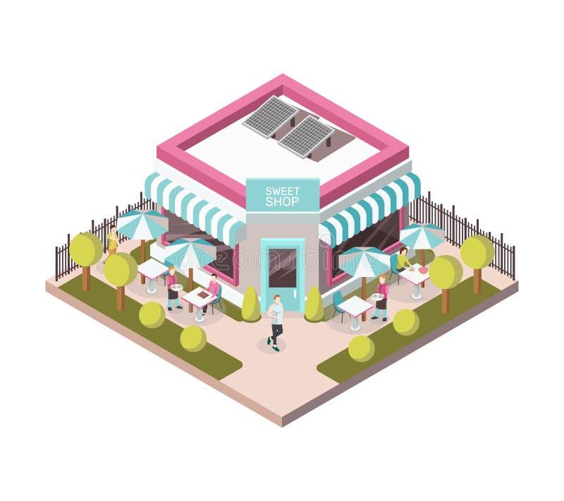 Illustration isométrique de vue extérieure douce de boutique illustration stock