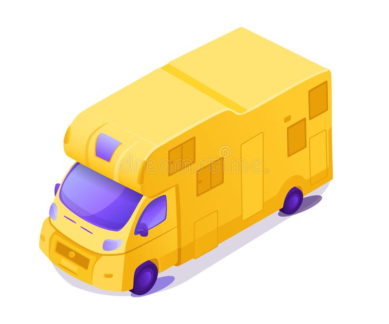 Illustration isométrique jaune de vecteur de la couleur 3D de rv illustration stock