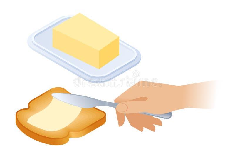 Illustration isométrique plate de beurre de propagation sur le pain illustration de vecteur