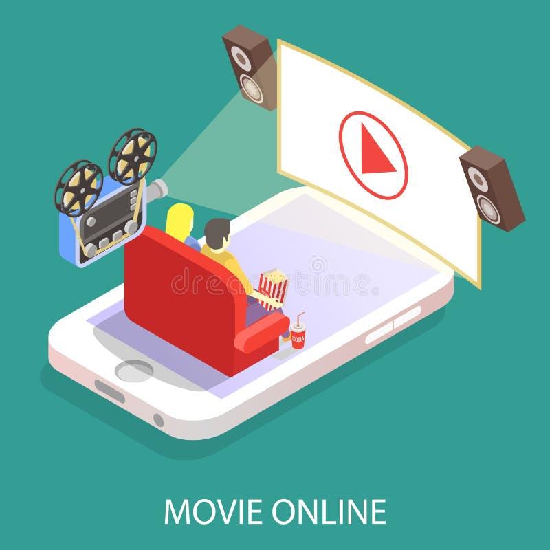 Illustration isométrique plate de vecteur en ligne de film illustration stock