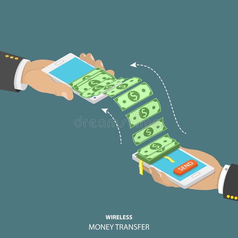 Illustration isométrique sans fil de vecteur de transfert d'argent illustration libre de droits