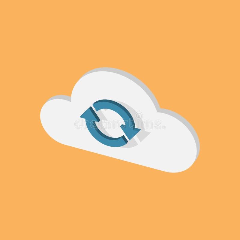 Illustration isométrique simple de nuage avec des flèches de synchronisation illustration stock