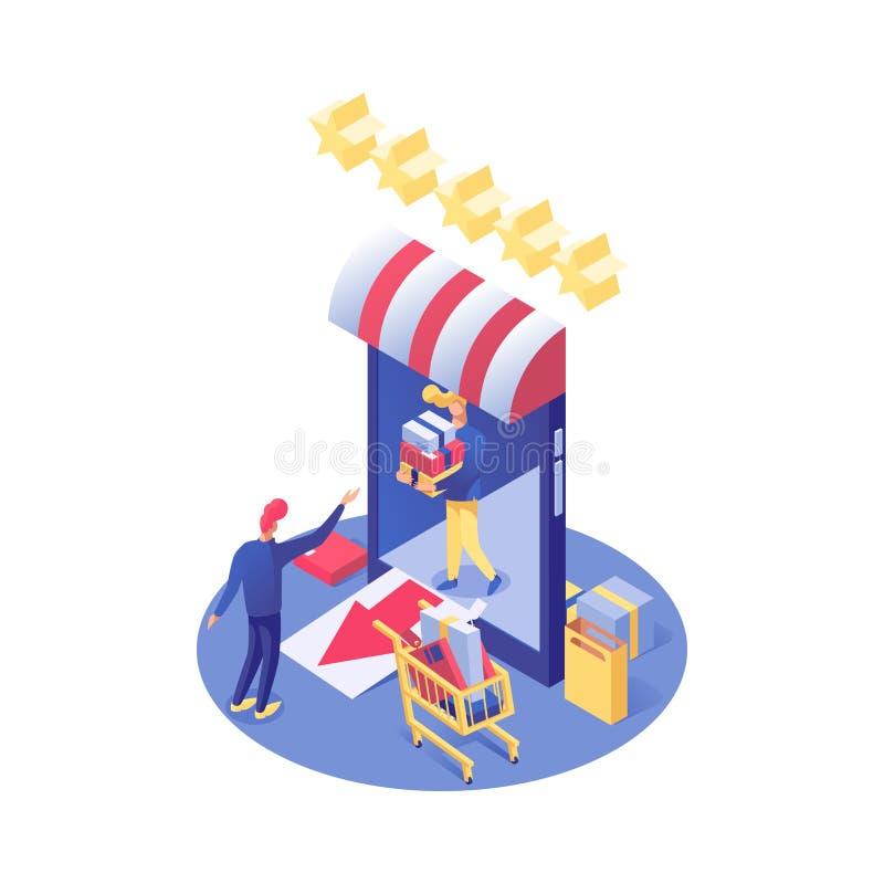 Illustration isom?trique de achat en ligne de vecteur Commerce électronique, e-commerce et consommationisme, produits d'achats de illustration libre de droits