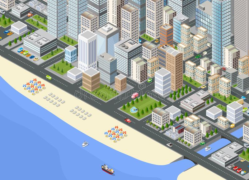 Illustration isometric large city. Illustration isometric large megalopolis city district with the streets, the promenade and the beach with umbrellas and vector illustration