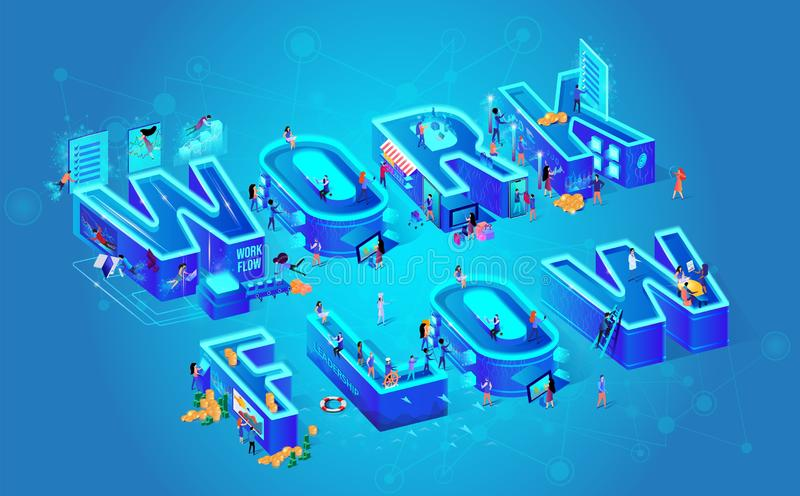 Illustration Isometric Vector and Work Flow. Digital Illustration Isometric Vector and Work Flow Little People. City Computer People Neural Networks on Blue royalty free illustration