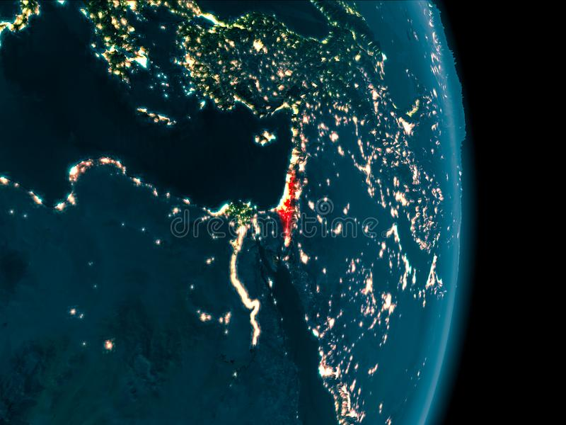 Israel at night. Illustration of Israel as seen from Earth's orbit at night. 3D illustration. Elements of this image furnished by NASA vector illustration