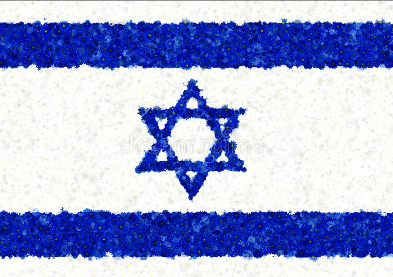 Illustration of an Israeli flag. With a blossom pattern stock illustration