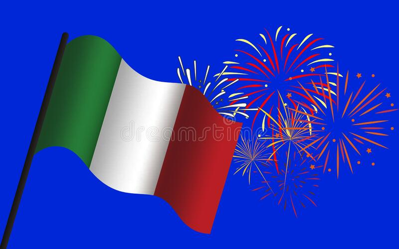 Illustration of italian celebration with italian flag on a pole and fireworks on a blue background vector illustration