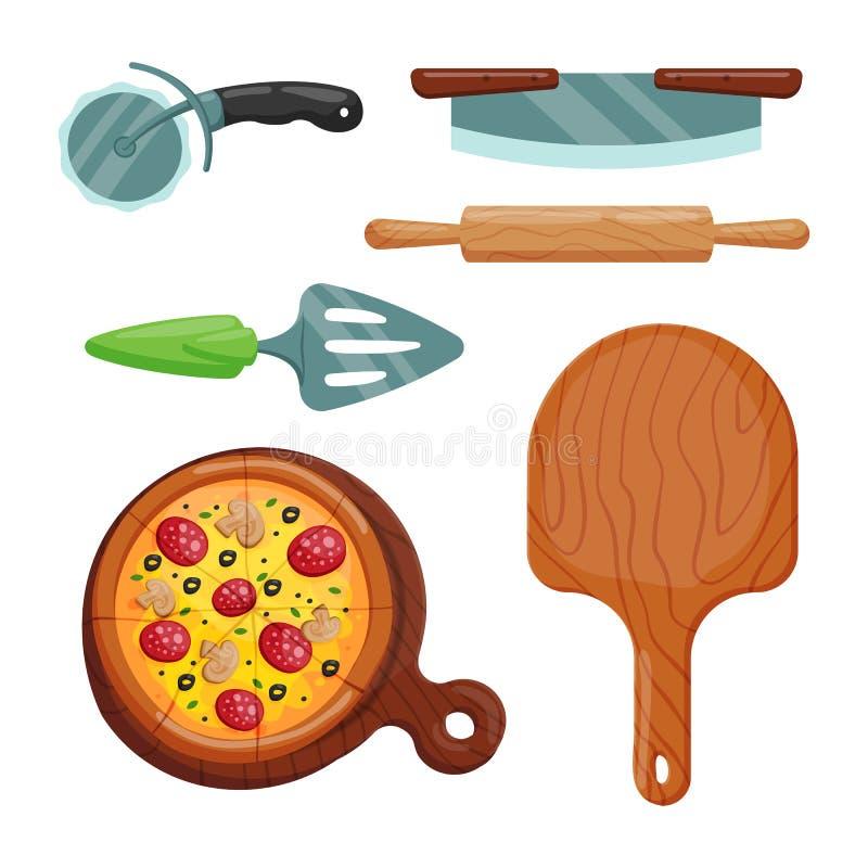 Illustration italienne de vecteur d'icônes de pizza de cuisinier illustration libre de droits