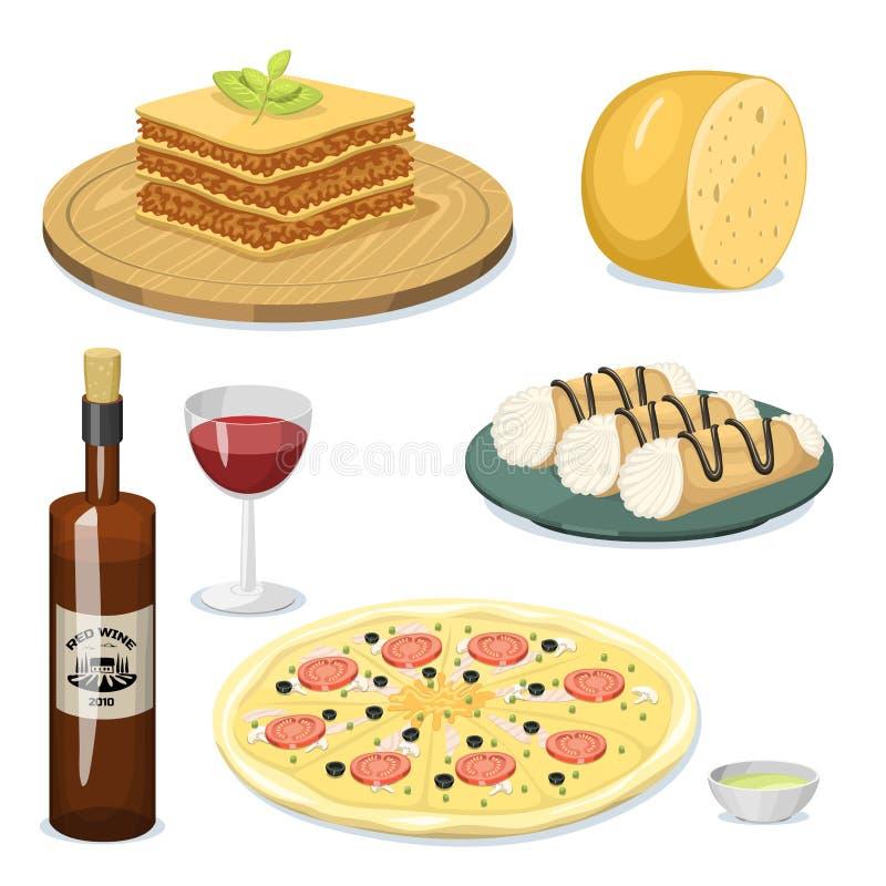 Illustration italienne traditionnelle fraîche à cuire faite maison délicieuse de vecteur de déjeuner de cuisine de nourriture de  illustration de vecteur