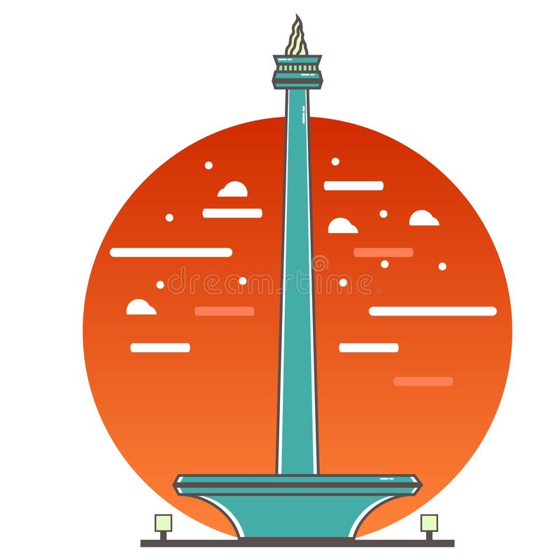 Illustration Jakarta för nationell monument vektor illustrationer
