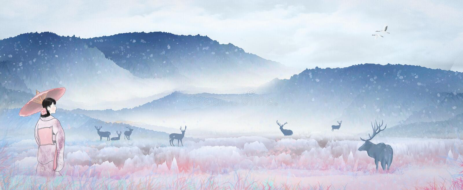 Illustration Japanese kimono girl playing in the fairyland scenery, snow sika deer resting at the lake to drink water stock illustration