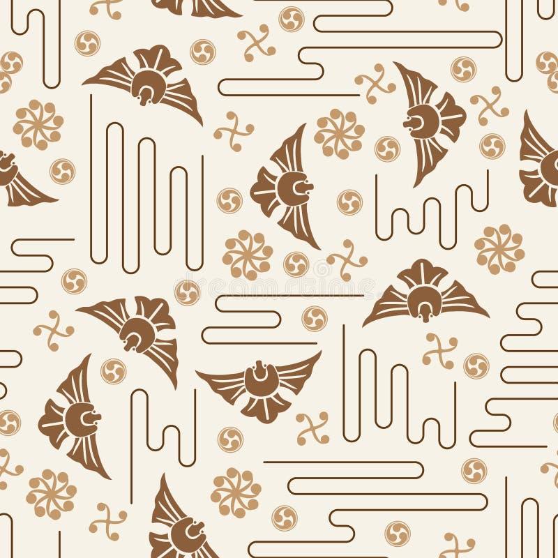 Japanese Mon Koi fish icon style seamless pattern. This illustration is Japanese Mon Koi fish icon decoration stylish in seamless pattern with brown colors theme vector illustration
