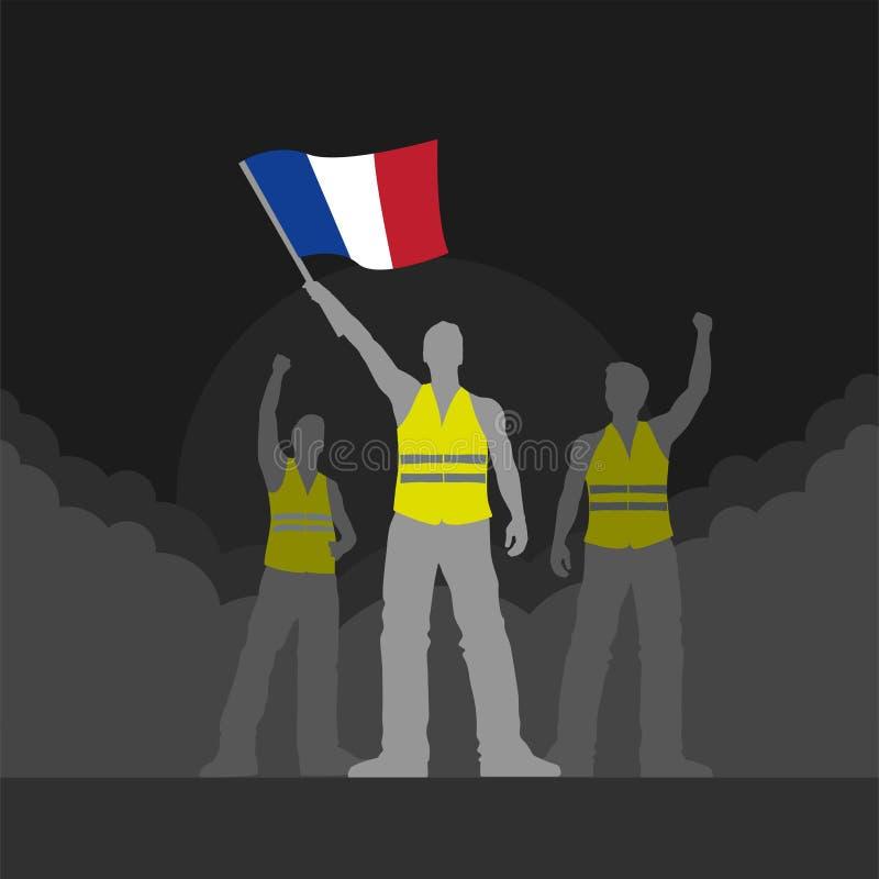 Illustration jaune de protestateurs de gilet de vecteur illustration libre de droits
