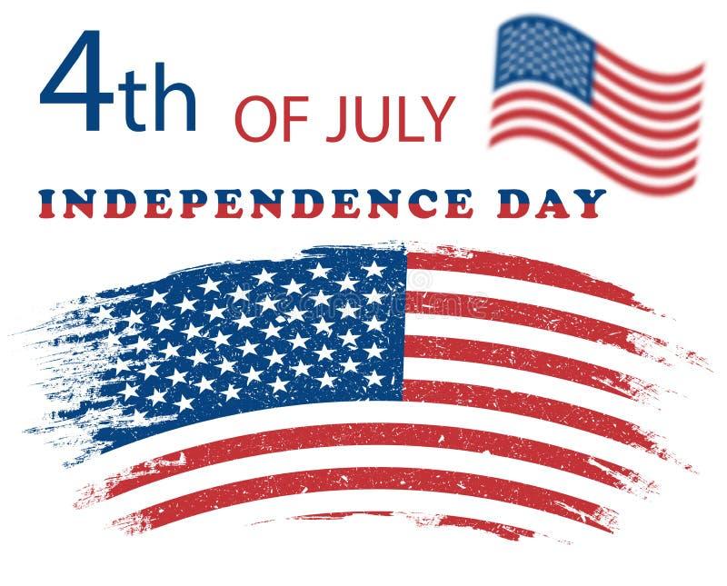 Illustration Jour de la Déclaration d'Indépendance Etats-Unis du 4 juillet grunge d'indicateur am?ricain Dirigez l'affiche, banni illustration de vecteur
