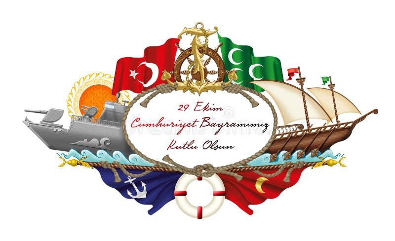 Illustration ; Jour turc de République du 29 octobre Icônes maritimes turques illustration stock