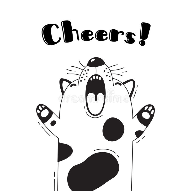 Illustration with joyful dog who shouts - Cheers. For design of funny avatars, welcome posters and cards. Cute animal. royalty free illustration