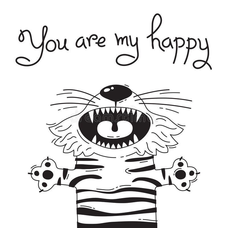 Illustration with joyful tiger who says - You are my happy. For design of funny avatars, posters and cards. Cute animal. stock illustration