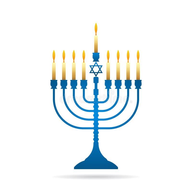 Illustration juive de vecteur de menorah de cru de Hanoucca de vacances illustration de vecteur