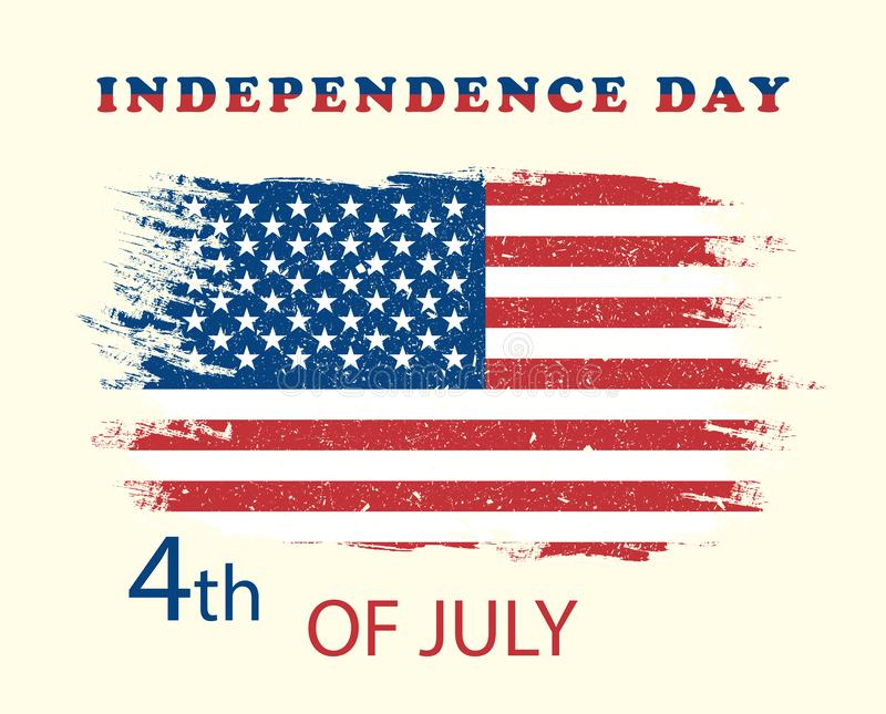 Illustration 4 July independence day USA . American grunge flag. Vector poster, banner, holiday card, yellow background. Eps stock illustration