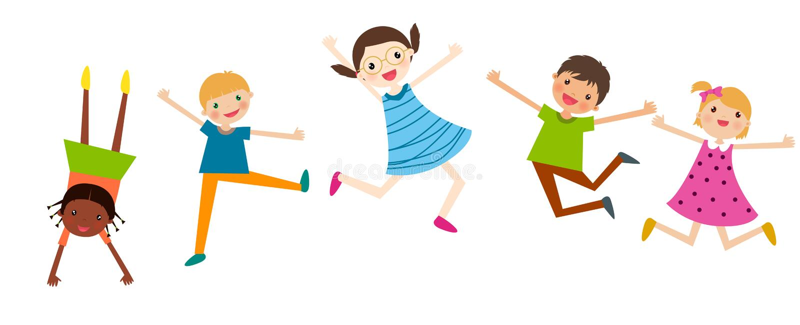 An illustration of jumping kids stock illustration