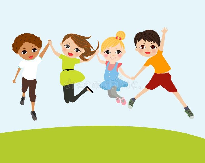 An illustration of jumping kids vector illustration