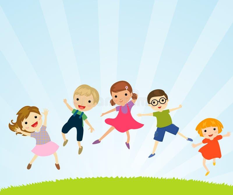 An illustration of jumping kids royalty free illustration