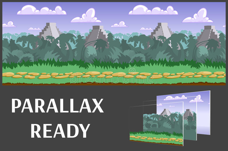 Illustration of a jungle landscape ,with green jungle, vector unending background with separated layers. royalty free illustration