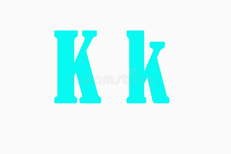 Illustration of the `k` letter over an illuminated white background stock photos