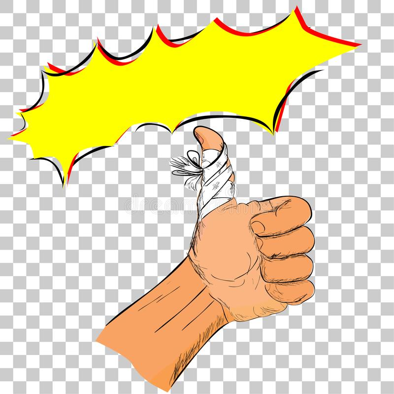 Illustration for keep spirit while injured, Simple Doodle Thumb Up Hand with bandage at transparent effect background vector illustration