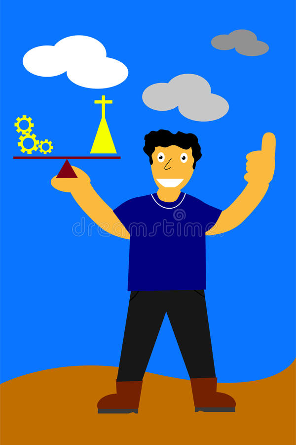 Illustration, key for success is balancing between work and pray stock illustration