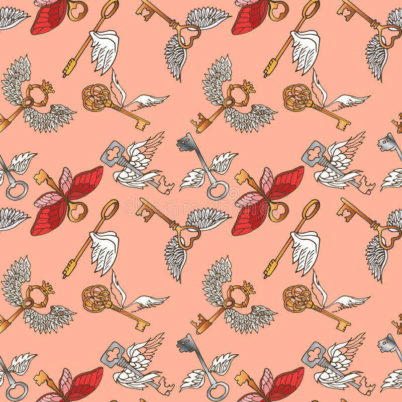 Illustration of the key with wings. Flying Keys. Seamless pattern. royalty free stock image