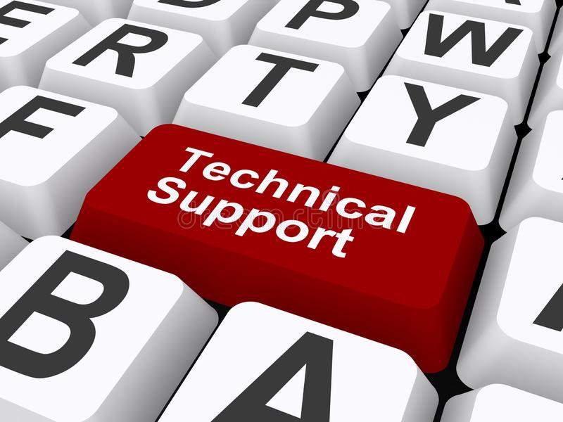 Technical support. An illustration of a keyboard with a button with the label Technical Support stock illustration