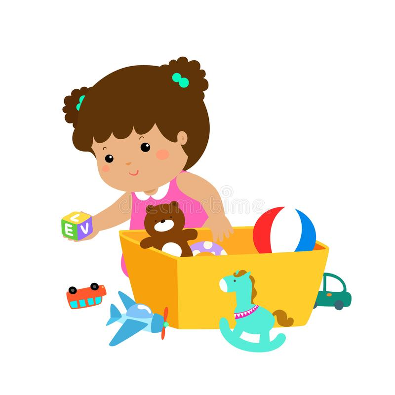 Illustration Of Kid Girl Storing Toys. Stock Vector ...