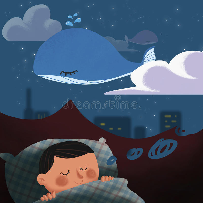 Illustration: The Kid is in a Sweet Dream. royalty free illustration
