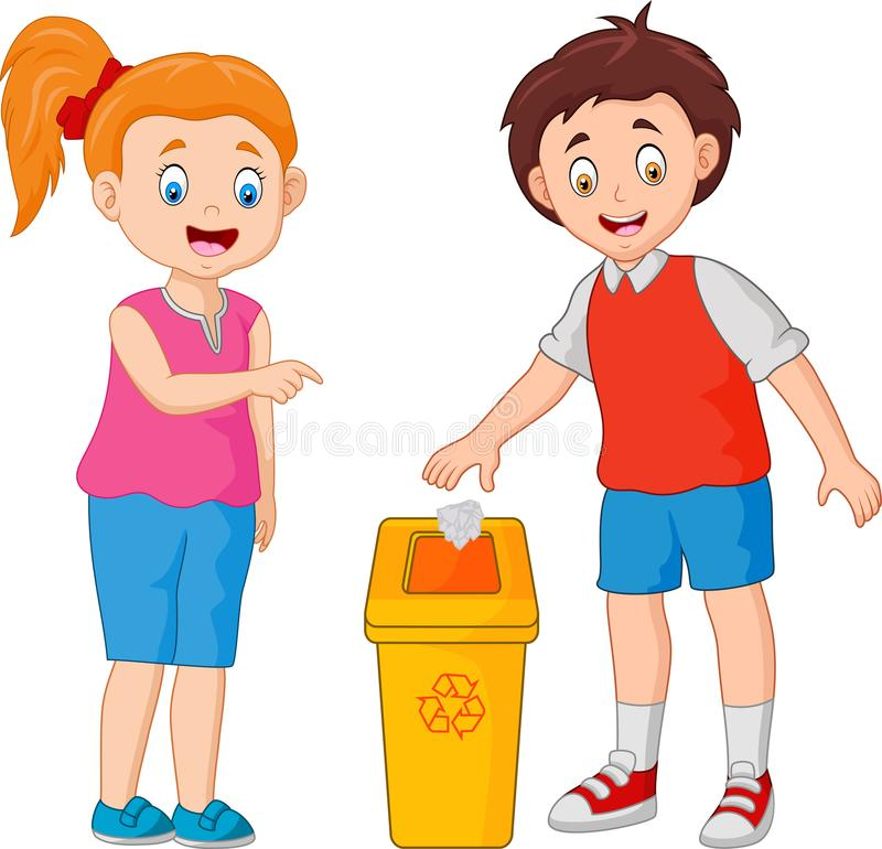 Kid throws garbage in the trash vector illustration