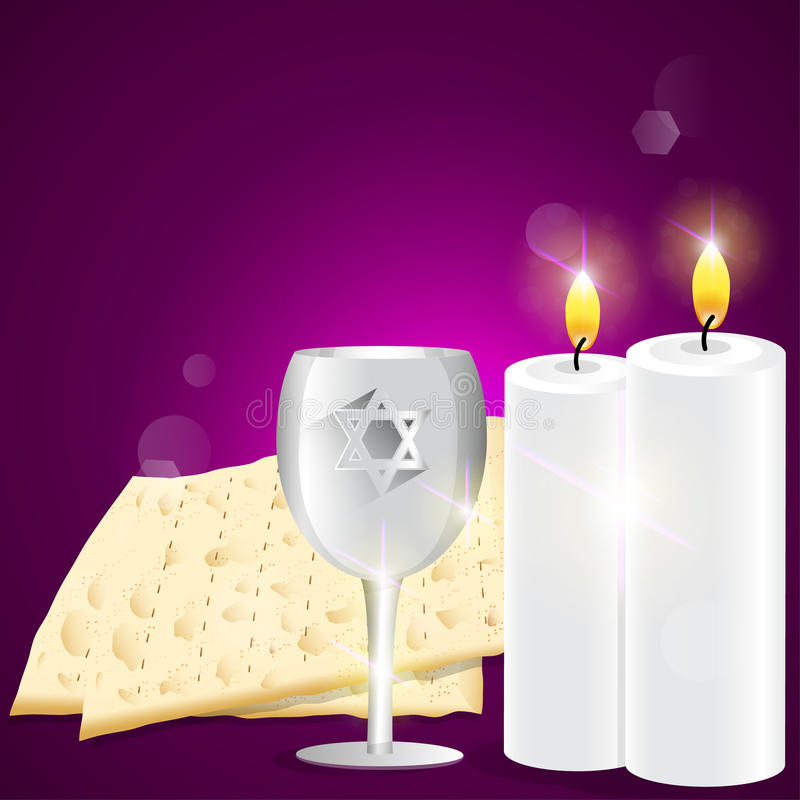 Illustration of kiddush cup with matzot. stock photography