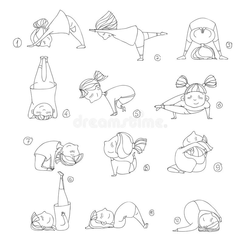 Illustration of kids doing yoga. Illustration of girls doing yoga. kids in yoga postures vector illustration