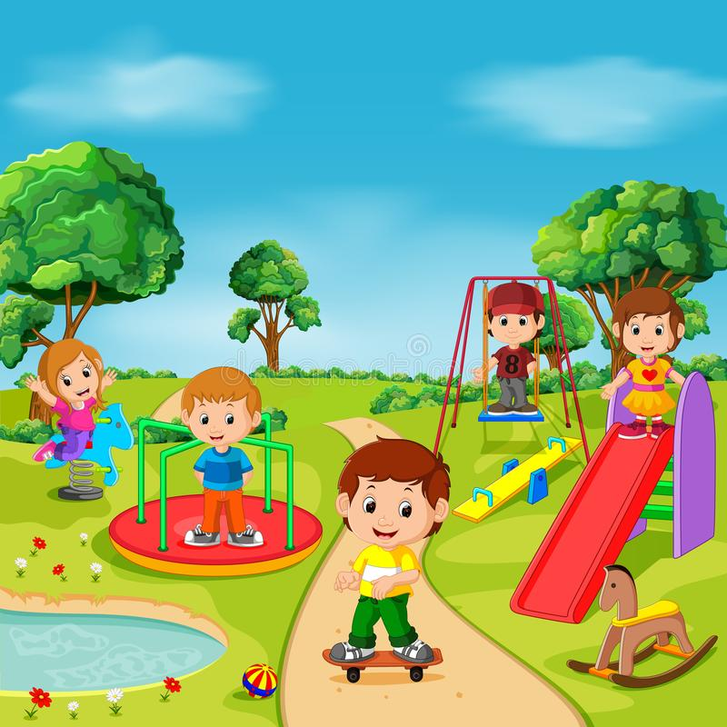 Kids playing outdoor in park vector illustration