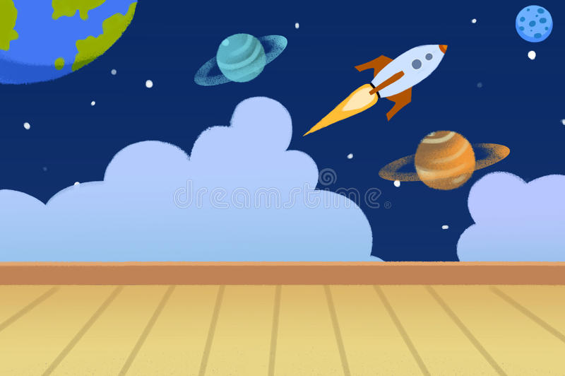 Illustration: Kids Room with Planets Painted on the Wall. stock illustration