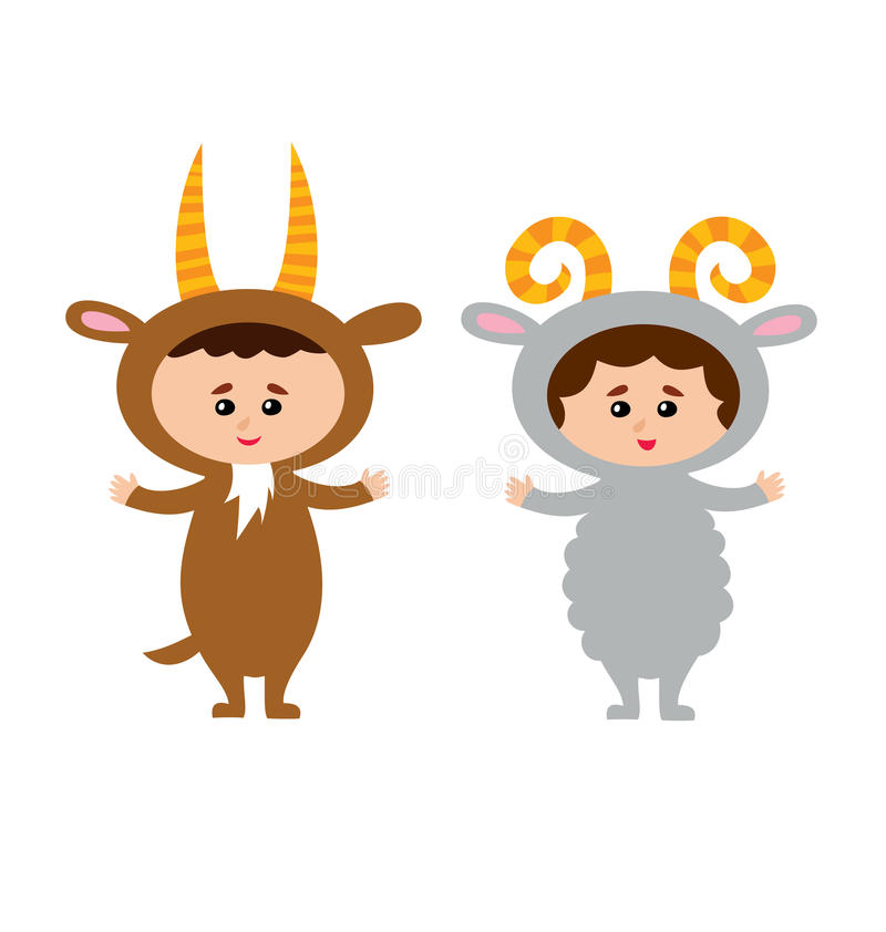 Illustration of kids wearing animal costumes goat and sheep. Illustration of kids wearing animal costumes goat and sheep isolated on white vector illustration