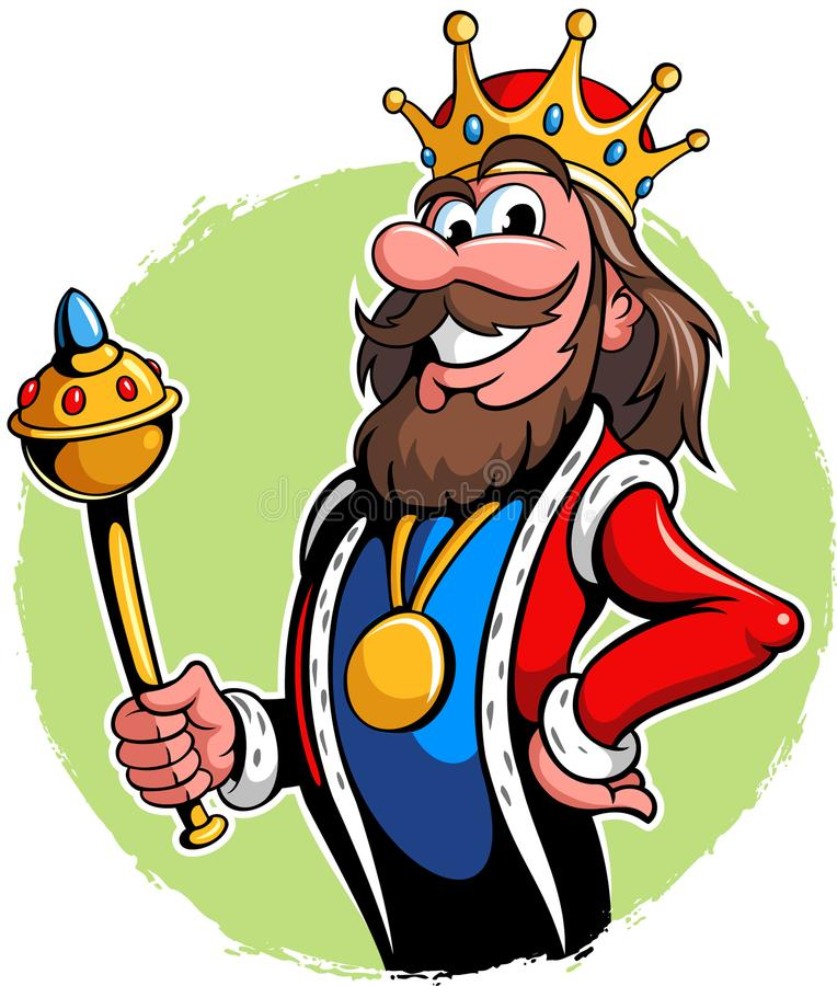 Illustration of a king with the crown and golden scepter, vector king cartoon character. vector illustration