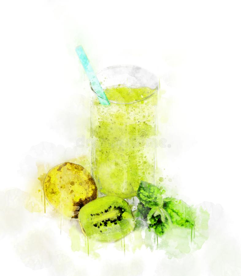 Illustration Kiwi Juice Glass d'aquarelle image libre de droits