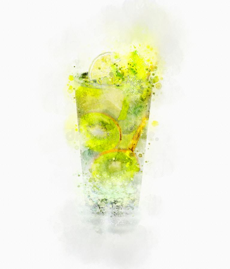 Illustration Kiwi Juice Glass d'aquarelle photographie stock libre de droits