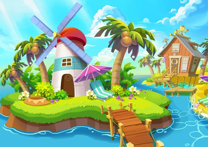 Illustration: Kleiner Leuchtturm Leuchtturm, Sonnenschein, Wind, Inseln, Meer, Brücke stock abbildung