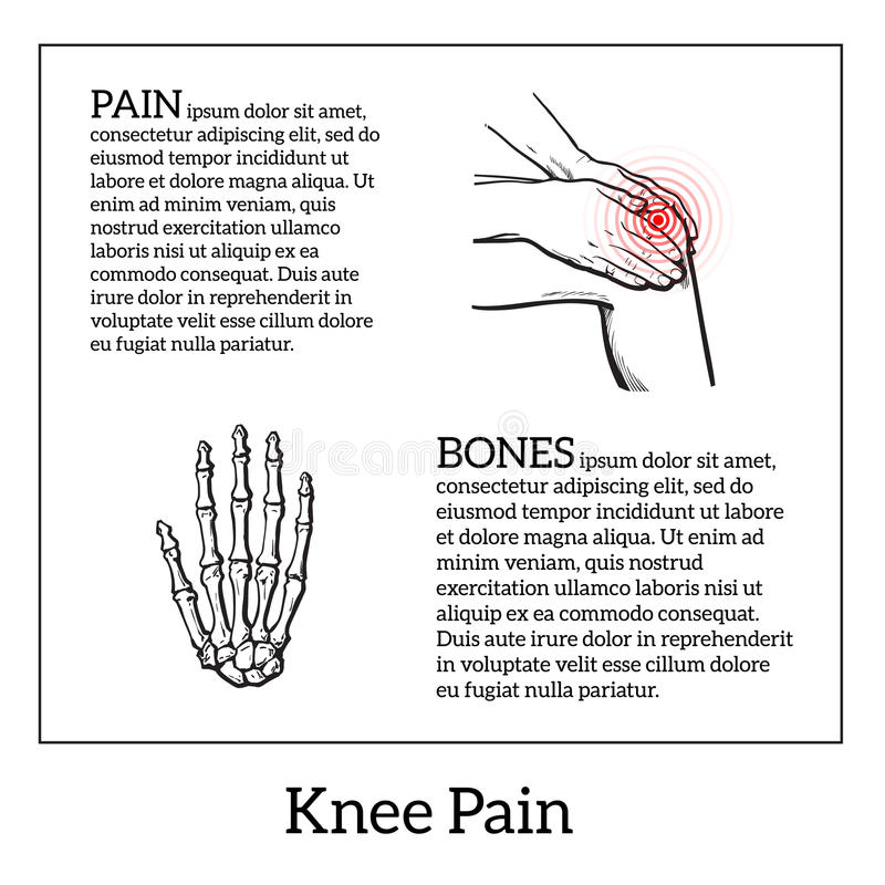 Illustration of knee pain. Hands holding leg. Painted knee pain. Discomfort in a joint leg. Symptoms of motor functions in humans.Template medical bulletins vector illustration